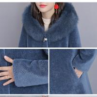 皮草外套女2018新款冬加肥加大码中长款狐狸毛颗粒羊剪绒大衣
