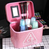 女化妆包大容量小号便携韩国简约可爱少女收纳盒品大号化妆箱手提 大号 粉色