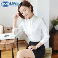 【极速发货 超低价格】大码女装职业装长袖小翻领衬衫领结修身时尚显瘦OL通勤白领打底衫正装
