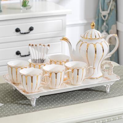 欧式茶具套装家用带托盘英式下午茶陶瓷咖啡茶杯水杯套具结婚礼物 白 鎏金女王(6杯1壶1托)礼盒 8件 新店上线春上新品