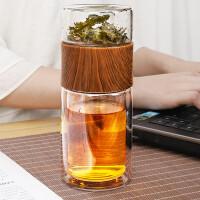 唐丰双层玻璃泡茶杯家用单个喝茶杯茶水分离办公杯透明简约会议杯