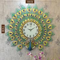 孔雀钟表挂钟客厅个性创意静音钟欧式玄关家用时尚大气创意时钟 26英寸