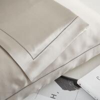 22姆真丝枕套丝绸枕巾重磅美容枕套枕头套一对拍两定制 银灰 25姆米 单件 48cmX74cm