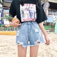 三木子快时尚女装~夏装新款韩版高腰磨破毛边不规则牛仔裤短款