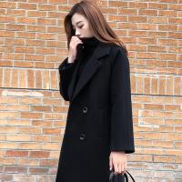 2018新款秋冬呢子黑色大衣女中长款韩国显瘦过膝加厚森系毛呢外套 黑色加棉 XS 95斤以下