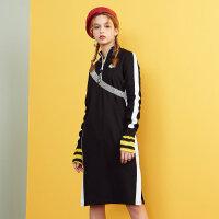 美特斯邦威针织连衣裙女街头韩版bf风冬装新款舒适chic长裙