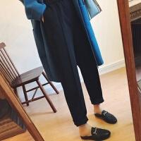 毛呢哈伦裤女秋冬季高腰小脚萝卜裤大码九分宽松休闲直筒西装长裤