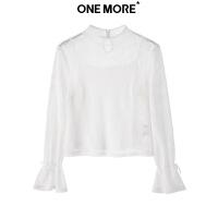 【11.24超品日3件2折到手价:24元】ONE MORE2018冬装新款网格上衣11QD830604