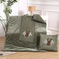 简约北欧抱枕被子两用 秋冬加厚保暖水晶绒汽车沙发靠垫 珊瑚绒毯