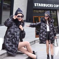 欧洲站棉衣女中长款冬新款时尚亮面面包服连帽加厚棉袄女 黑色 M