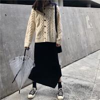 2019春季韩国新款Polo领加厚毛衣外套+兔绒针织半身裙两件套装女