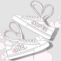 艾米与麦麦韩版英文字母手绘涂鸦板鞋女甜美可爱闺蜜鞋子百搭潮流春季小白鞋学生2019新款系带平底休闲鞋