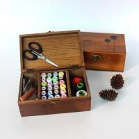 新品复古实木针线盒套装家用缝纫手缝线十字绣工具创意礼品收纳盒