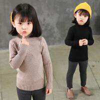 女童毛衣套头针织衫秋冬新款韩版中小童纯色半高领学生打底衫潮款