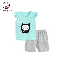儿童休闲衣服 宝宝夏装两件套薄 女童花边袖背心套装