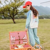 女童运动套装儿童中大童洋气秋装女孩童装两件套