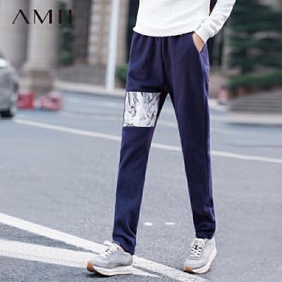 AMII[极简主义]冬新大码印花休闲长裤11571789