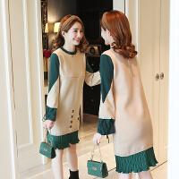 哺乳衣连衣裙喂奶辣妈产后毛衣女秋冬装时尚中长款外出针织打底裙