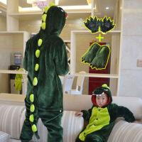 恐龙衣服睡衣儿童冬季家居服男童连体衣宝宝动物卡通女大童法兰绒 +手套