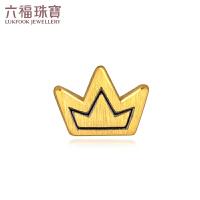 六福珠宝黄金耳钉男女款皇冠电黑金耳饰耳环足金定价HGA1TBE0004
