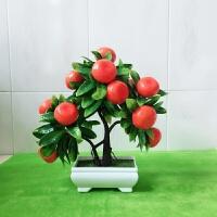 假花仿真花客厅摆件仿真桃子树假苹果树装饰塑料水果盆栽小摆件