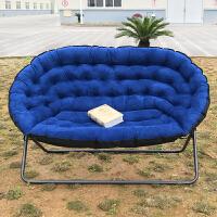 【新品热卖】懒人沙发欧式双人布艺沙发单人沙发折叠沙发椅家用休闲椅 深蓝色 双人