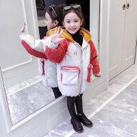 女童棉衣2018新款冬装韩版洋气儿童棉袄中长款棉服小女孩外套加厚