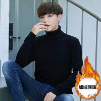 加绒针织衫男韩版青少年毛衣加厚粗线外穿套头保暖衣服冬季男线衣