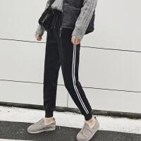 加绒运动裤女冬季2018新款加厚金丝绒外穿时尚宽松大码保暖休闲裤