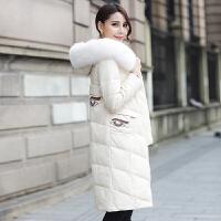 2018冬装新款女装大码中长款皮衣外套皮草皮毛一体羽绒服