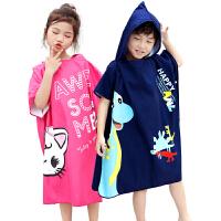 儿童浴巾斗篷带帽男童吸水速干游泳泡温泉浴袍沙滩巾