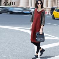 AMII[极简主义]秋冬新撞色拼接雪花圈圈呢羊毛呢大码连衣裙11571107