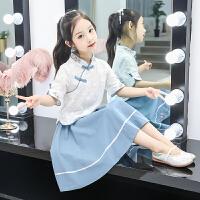 儿童汉服中国风古装中大童夏装女童唐装复古套装女孩公主裙