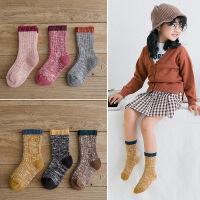 儿童袜子秋冬季棉加厚复古1-3-5-8岁宝宝男童中筒袜女童棉袜子