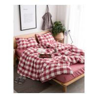 全棉格子水洗棉四件套床品纯棉被套纯色床单被单床上用品床笠款定制