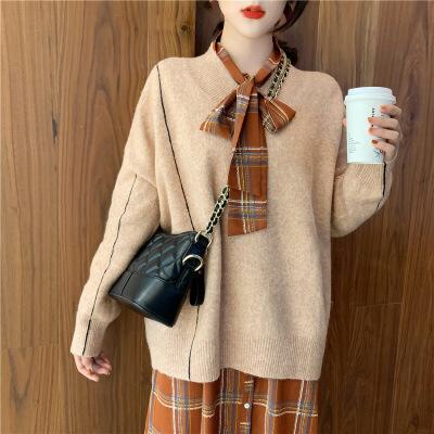 法国小众连衣裙女秋冬法式复古收腰中长款很仙的毛衣裙子两件套装 毛衣+格子连衣裙  保障优质版型 放心购买
