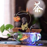 陶瓷玻璃鱼缸流水器家居客厅办公室桌面家居摆件乔迁*开业礼物