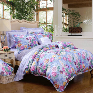 [当当自营]富安娜家纺纯棉四件套1.5米1.8米床印花套件 香韵清风 蓝色 1.8m