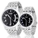 2018新款 EYKI艾奇 韩版时尚夜光日历手表 钢带情侣对表8408 黑色