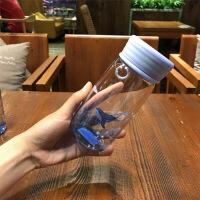 韩版渐变色时尚简约玻璃水杯男女学生个性耐热防漏提绳便携杯子夏