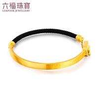 六福珠宝新月系列黄金手镯编织手绳女足金手镯计价G08TBGB0003