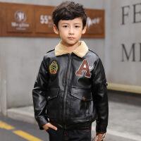 冬季中大童男童上衣外套MG3-5-8-13岁加绒皮衣 黑色