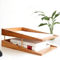 A4纸文件夹收纳盒办公桌桌面置物架三层书本资料盒简约竹木制