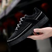 冬季加绒板鞋男鞋子韩版潮流日常休闲鞋系带保暖帆布鞋低帮潮鞋男