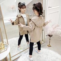 女童中大童秋装时尚洋气风衣2019春秋季新款韩版中长款外套