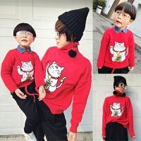 母女装外套红色猫毛衣亲子装母子母女装秋冬2018新款潮一家三口宝宝外套MYZQ88 红色