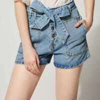 【11.08-11.12 遇见11.11 到手价:54元】ONEMORE高腰绑带牛仔短裤女休闲热裤女