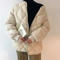 冬季韩版简约菱形格加厚宽松面包服保暖时尚短款棉衣外套女 均码
