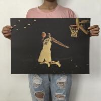 詹姆斯乔丹nba海报篮球海报复古海报宿舍卧室装饰画墙贴 白色 H816-K款 51*35.5cm
