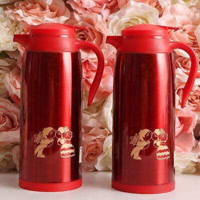 结婚庆用品陪嫁家用一对不锈钢暖水壶喜庆热水瓶保温壶保温瓶  结婚喜庆陪嫁 不锈钢保温壶